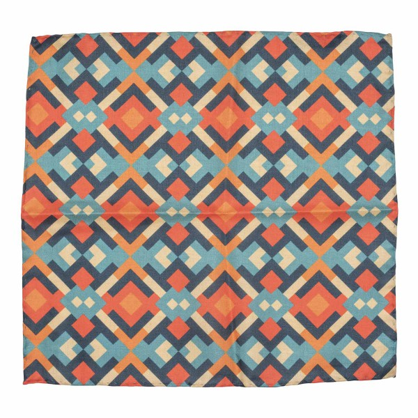 Orange and Green Square Silk and Cotton Pocket Square
