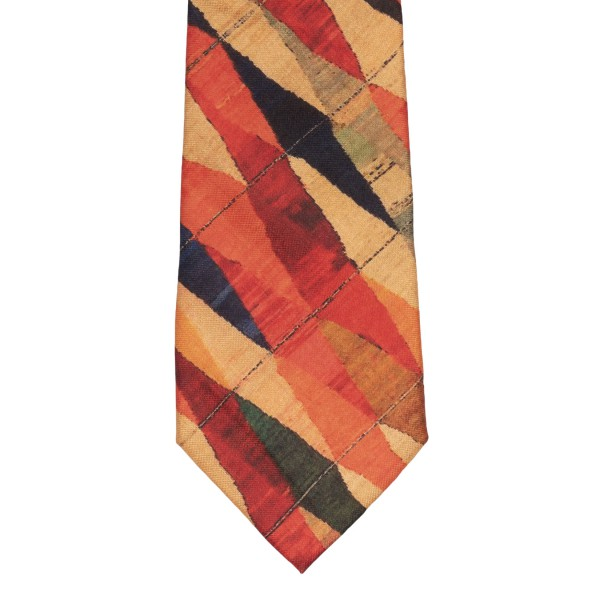 Multicolour Diamond Pattern 60% Silk 40% Khadi Necktie