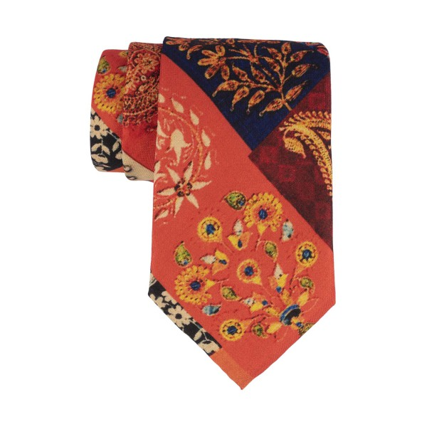 Orange Multiple Block 60% Silk 40% Khadi Necktie
