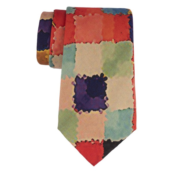Multicolor square Oil paint print 60% Silk 40% Khadi Necktie