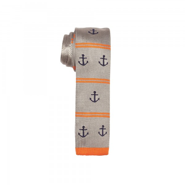 Grey and Orange with Anchor Knitted Necktie