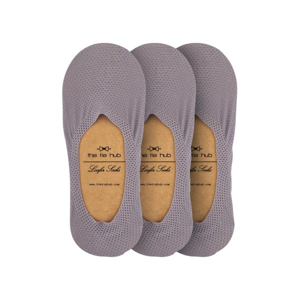 Pack of 3 Breathable Grey Loafer Socks - Silicon lining