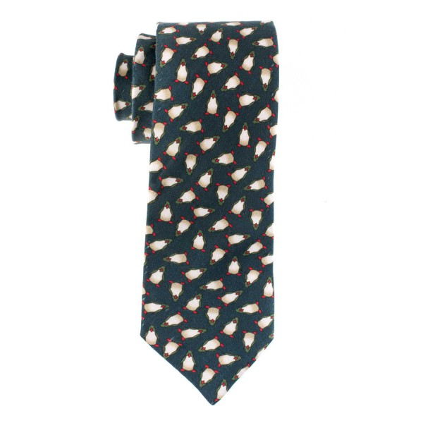 Penguin Print 100% Silk Army Green Necktie