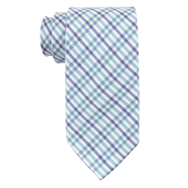 Jet Plaid Aqua and Blue 100% Silk Necktie
