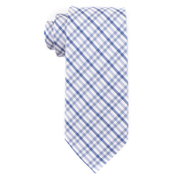 Jet Plaid Sky Blue 100% Silk Necktie