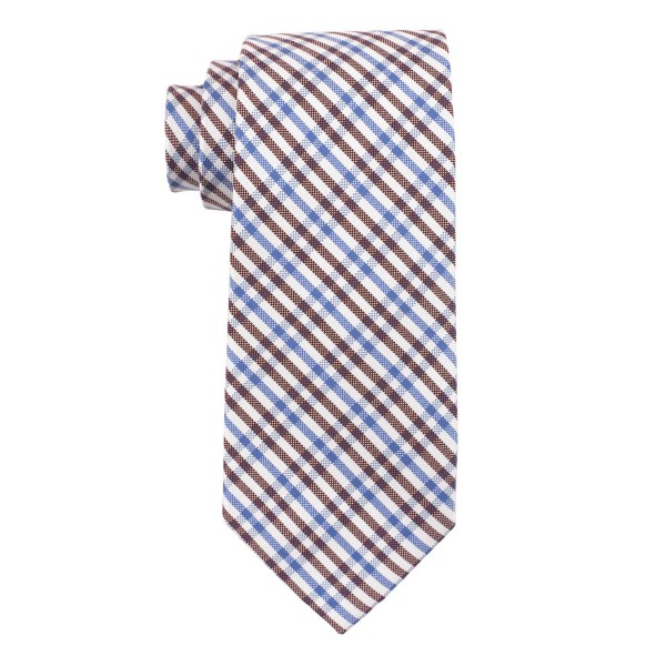 West Village Plaid Maroon and Blue 100% Silk Necktie