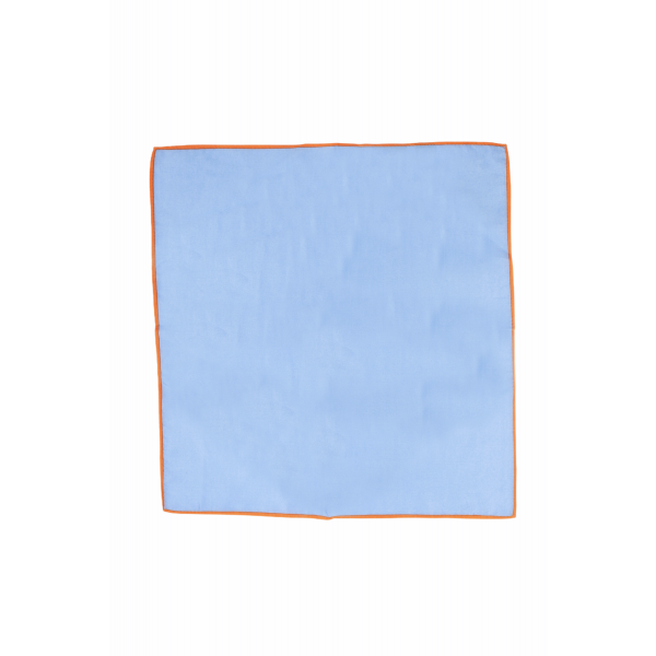 Weldner Sky Blue Pocket Square with Orange Border