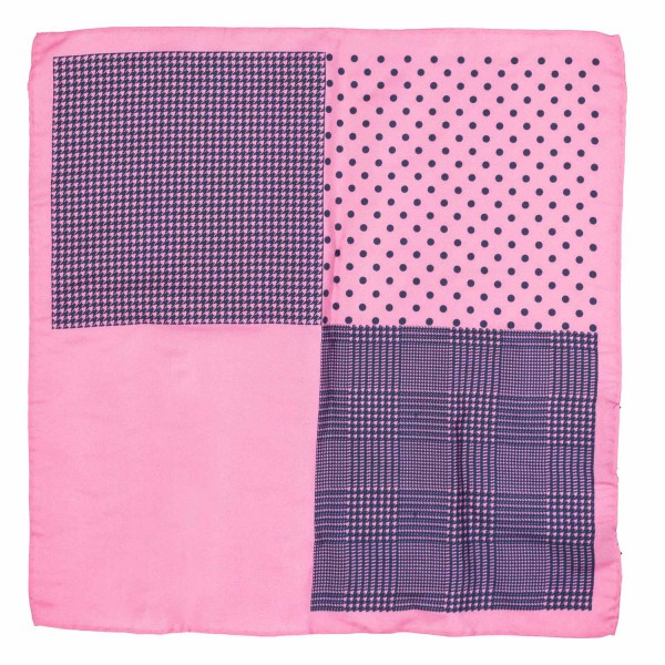 Four Square Printed Pink And Blue Silk Pocket Square