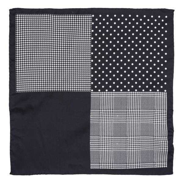 Four Square Printed Black Silk Pocket Square For Men By The Tie Hub
