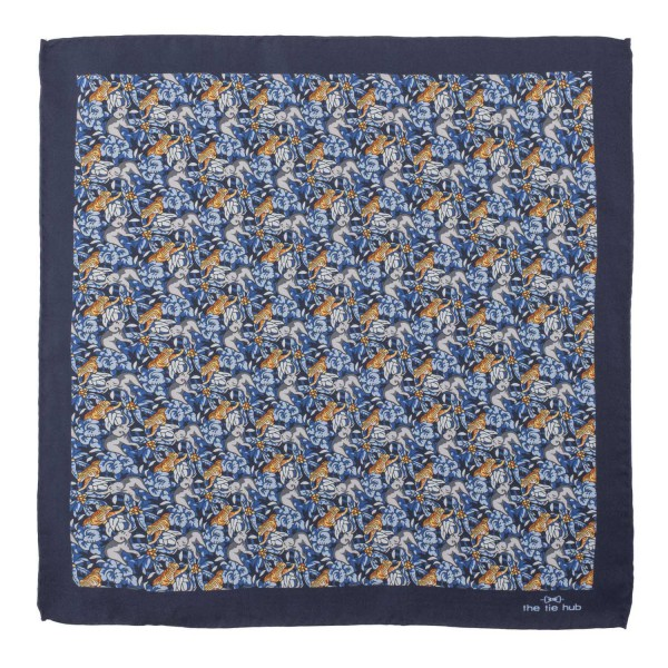 Blue Floral With Elephant And Tiger Silk Pocket Square