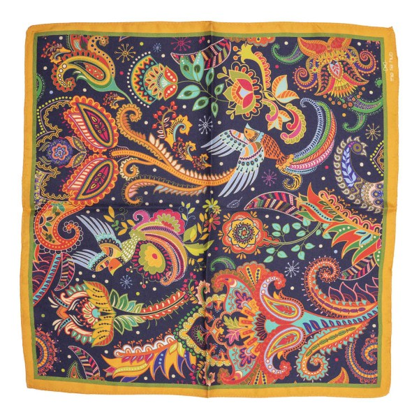 Flying Birds Black and Yellow 100% Silk Pocket Square