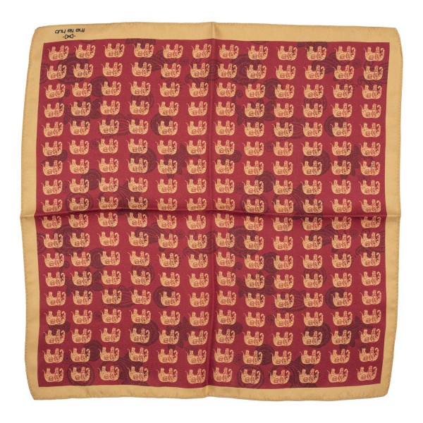 Elephant Maroon and Rust 100% Silk Pocket Square