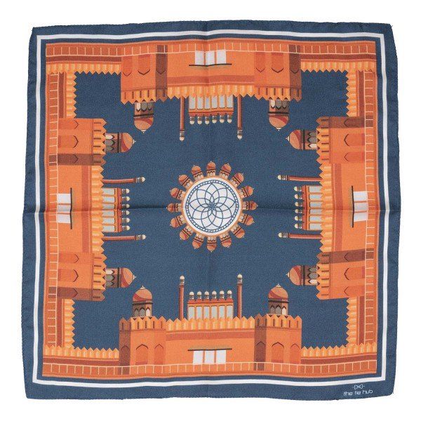 Fort of India Printed 100% Silk Pocket Square