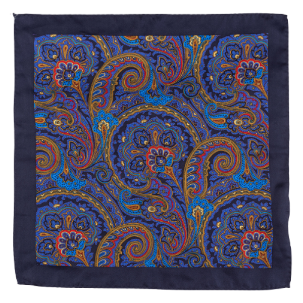 Royal Blue Yellow Paisley 100% Silk Pocket Square