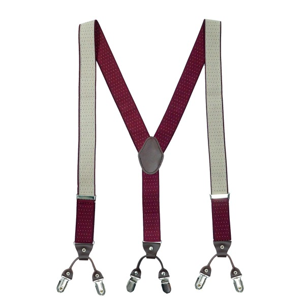 Pin Dot Maroon Y Back Suspender