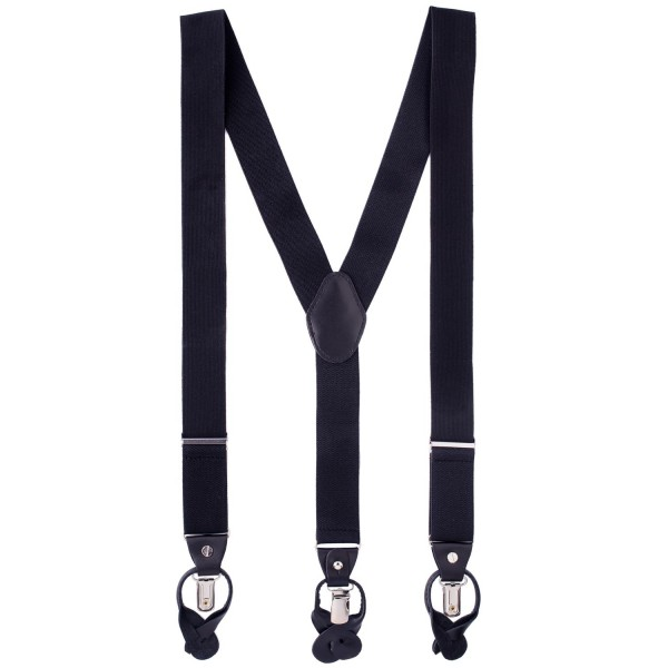 Signature Solid Black Y Back Button-end Suspender