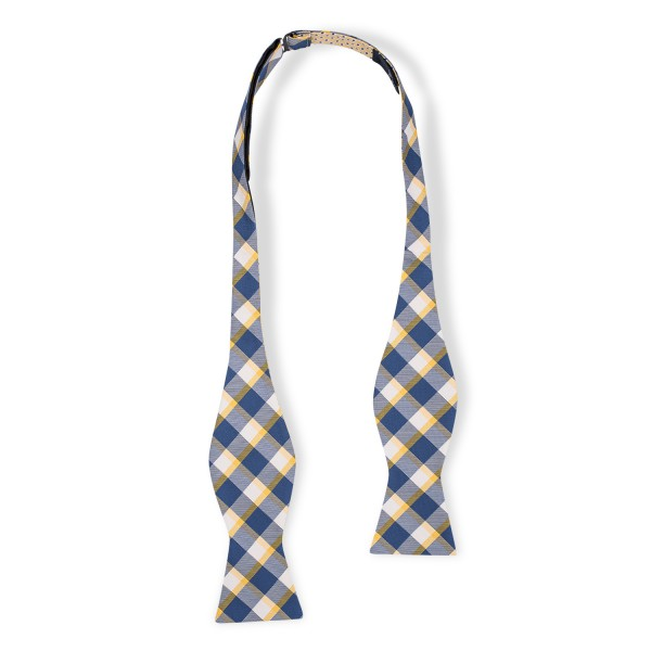 Stein Checks Yellow And Blue Reversible 100% Silk Self Tie Bow Tie