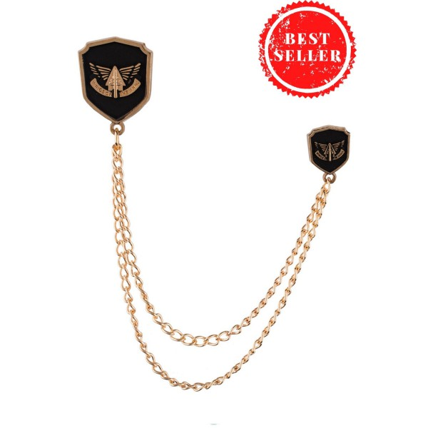 Fighter Black And Gold Lapel Pin