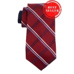 Flatline Maroon and Blue Plaid 100% Silk Necktie