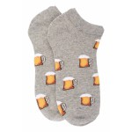 Grey Beer Mug Ankle Length Bright Socks